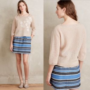 Anthropologie Troubadour Wool Snow Blossom Sweater